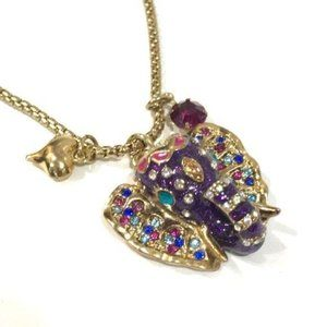 Betsey Johnson Purple Elephant Pendant Necklace